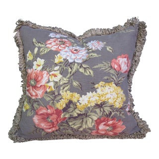Vintage Gray Floral Fabric Pillow For Sale