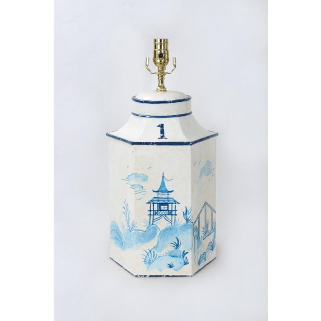 """Metal Vintage Blue & White English Export Chinoiserie Tole Hexagon Tea Caddy Lamp """"#1"""" For Sale - Image 7 of 7"""