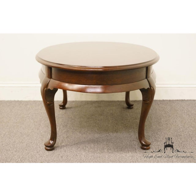 Brown late 20th Century Vintage Hammary Furniture Solid Cherry Queen Anne Coffee Table For Sale - Image 8 of 10