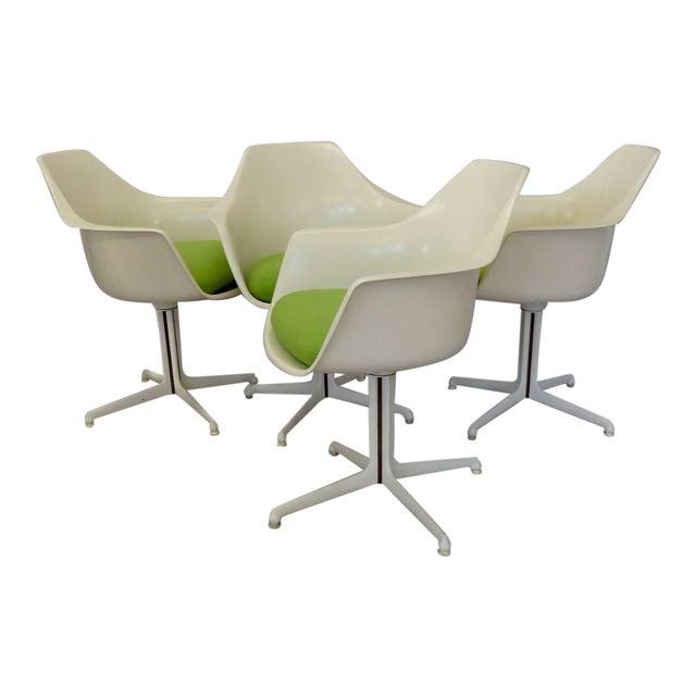 Burke White Fiberglass Swivel Dining Chairs - Set of 4 For Sale
