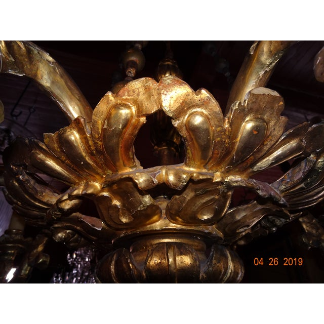 Late 18th Century 18th Century Venetian Gilt Wood Chandelier For Sale - Image 5 of 13