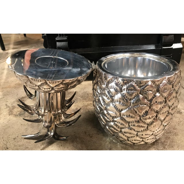 Teghini Firenze Silver Plated Pineapple Ice Bucket Made in Florence, Italy by Teghini For Sale - Image 4 of 13