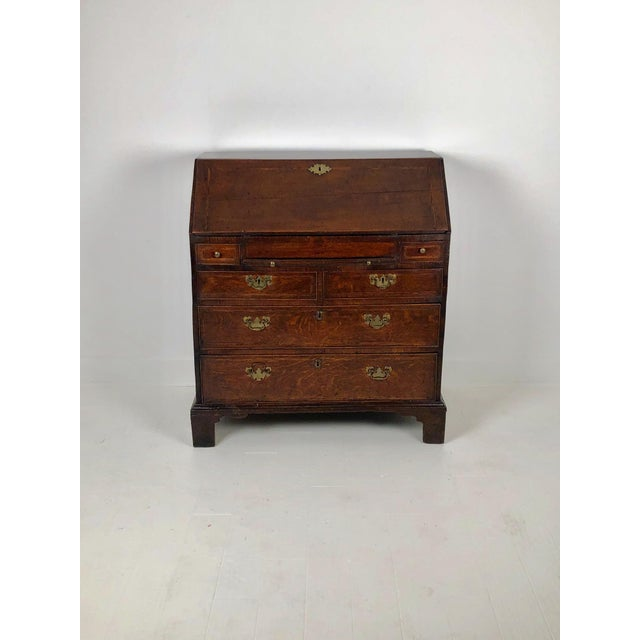 Early Georgian English Oak Slant Front Desk, Circa 1740 For Sale - Image 9 of 11