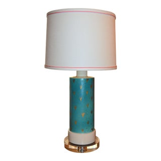 1940s Mid-Century Modern Wayland Gregory Turquoise and Gold Lamp, Lucite Base For Sale