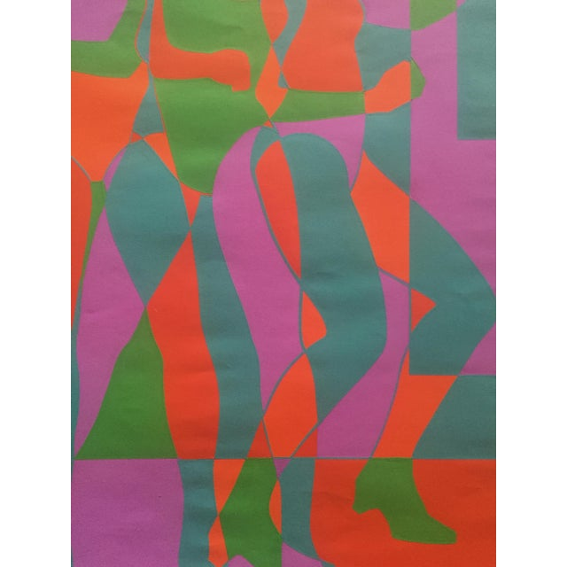"""Abstract 1968 Signed Roy Ahlgren Silkscreen """"Three Graces"""" For Sale - Image 3 of 7"""