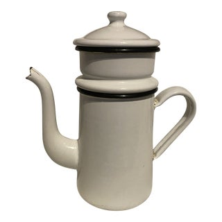 Vintage 1940s French Cafe' Coffee Enamel Filter Maker Pot For Sale