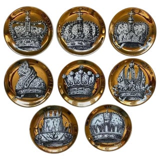 1960s Mid-Century Modern Fornasetti Corone Crown Coasters - Set of 8