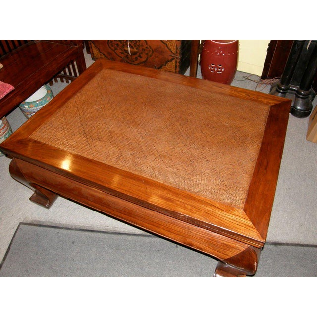 19th Century Chinese Chow Leg Coffee Table with Woven Mat Top For Sale - Image 4 of 8