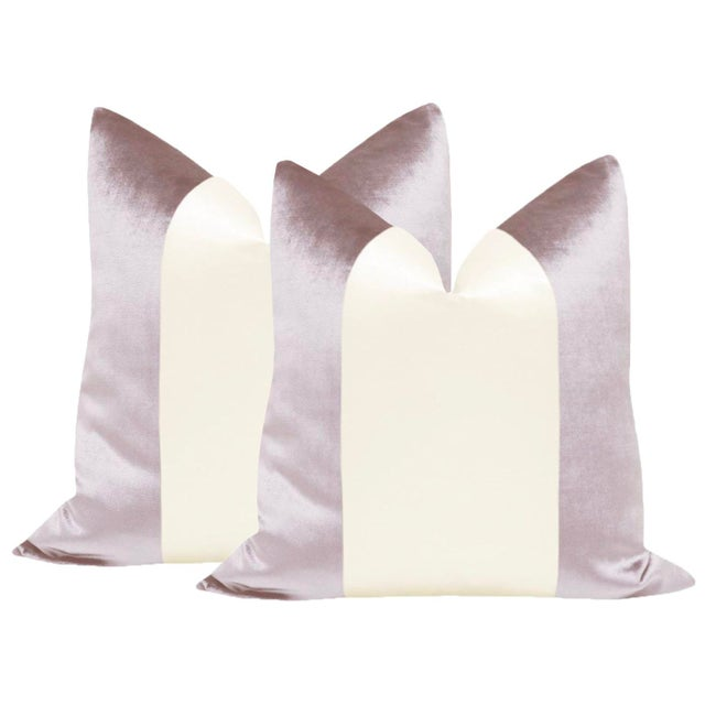 "2010s 22"" Smokey Lavender Velvet & Alabaster Silk Panel Pillows - a Pair For Sale - Image 5 of 5"