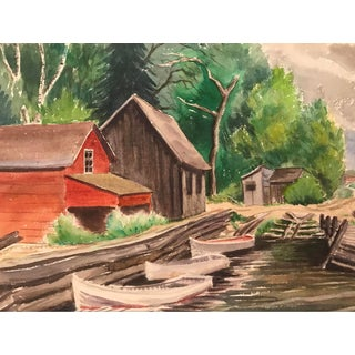 Camp Boathouse Watercolor 1960s For Sale