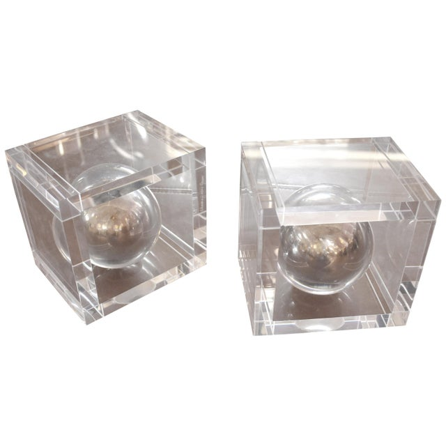 Mid 20th Century Pair of Lucite Signed Bookends by Charles Hollis Jones For Sale - Image 5 of 5