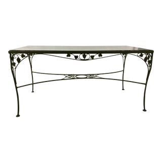 Vintage Woodard Style Wrought Iron Glass Top Dining Table For Sale