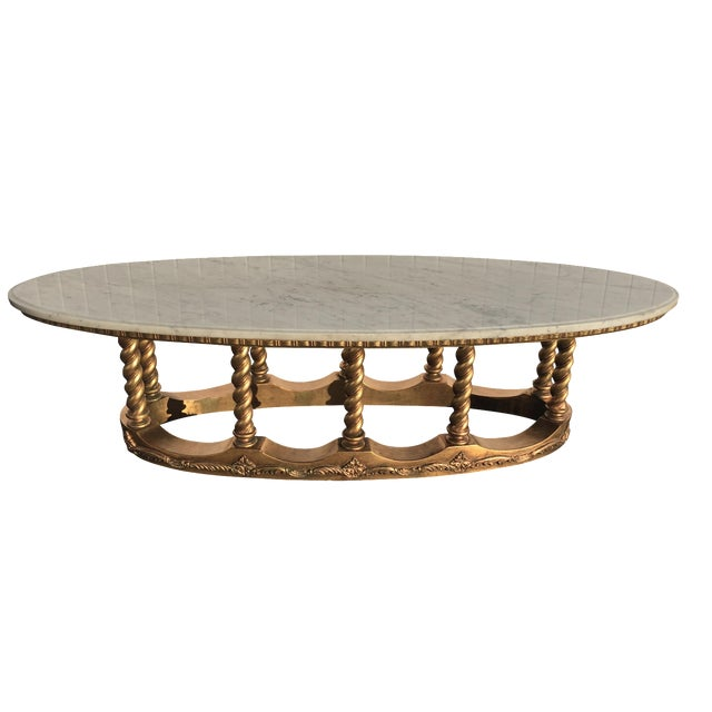 Hollywood Regency Gold Gilt Marble Coffee Table - Image 1 of 8