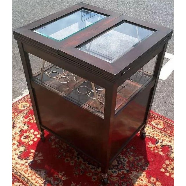 Brown Vintage Bar Cart With Pop Up Center and Beveled Glass For Sale - Image 8 of 11