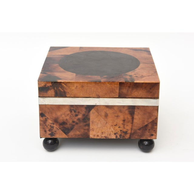 Black Maitland Smith Tessellated Tortoise Shell, Wood and Chrome Hinged Box For Sale - Image 8 of 10