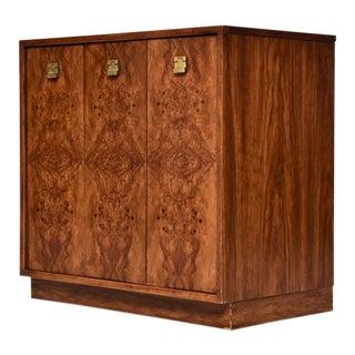 1970s Vintage Burlwood Bar Cabinet For Sale