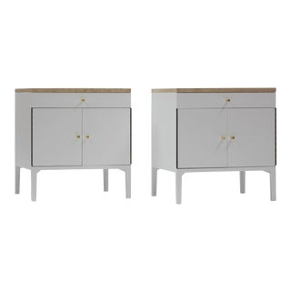 Nightstands in White Lacquer and Travertine by Paul McCobb