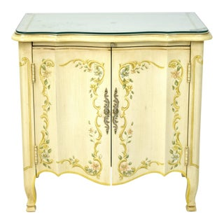 1960s Italian Heritage Furniture Co. Hand Painted End Table Nightstand Cabinet For Sale