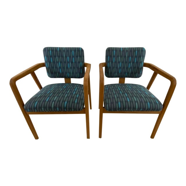 1950s Mid-Century Modern Walnut Upholstered Arm Chairs - a Pair For Sale