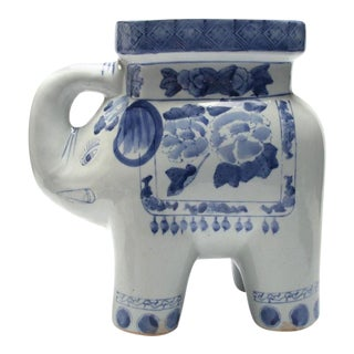 Late 20th Century Vintage Asian Style Blue and White Porcelain Elephant Garden Stool For Sale