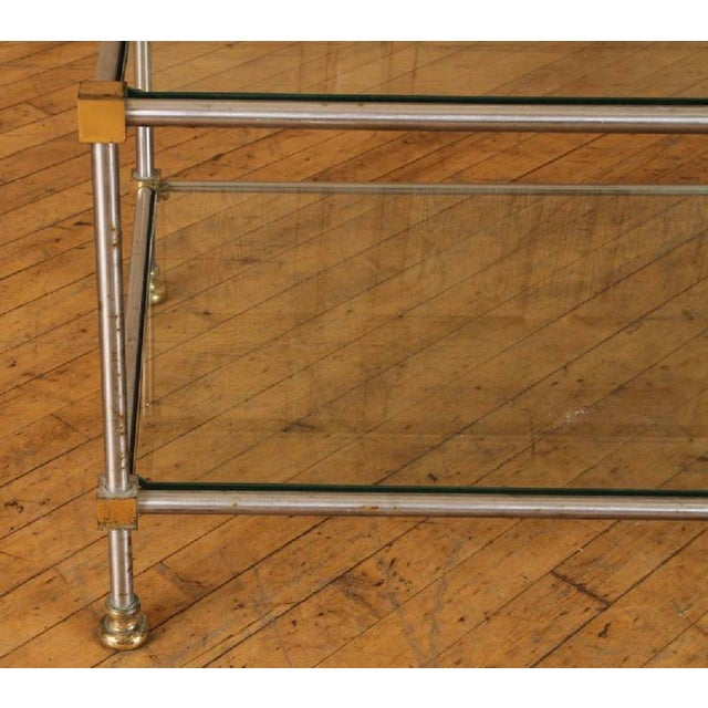 Modern 1950s French Directoire Steel and Brass Coffee Table For Sale - Image 3 of 5