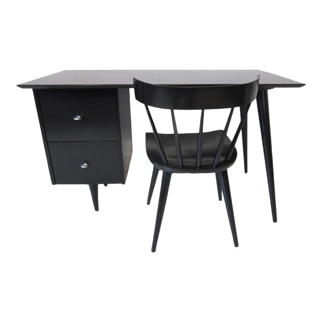 Paul McCobb Black Maple Desk W/ Chair From the Planner Group For Sale