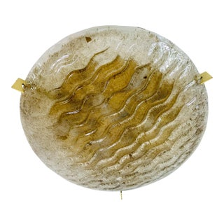 1960s Mid-Century Modern Round Brass and Iceglass Flushmount by Kaiser Leuchten, Germany For Sale