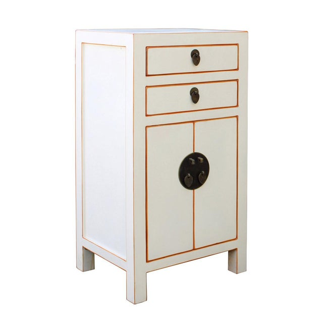 Chinese Off White Lacquer Side End Table Nightstand For Sale - Image 5 of 6