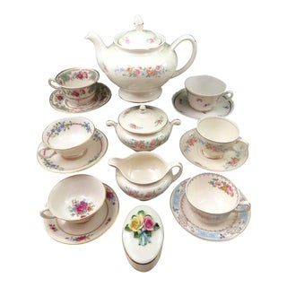 Vintage Mismatched China Tea Set, Serves 6 (19 Pc.)