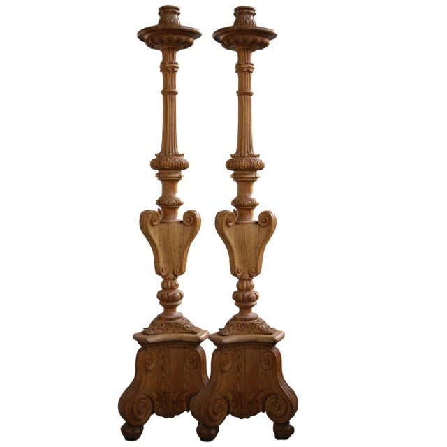 Antique Italian Hand Carved Torchieres - Pair For Sale