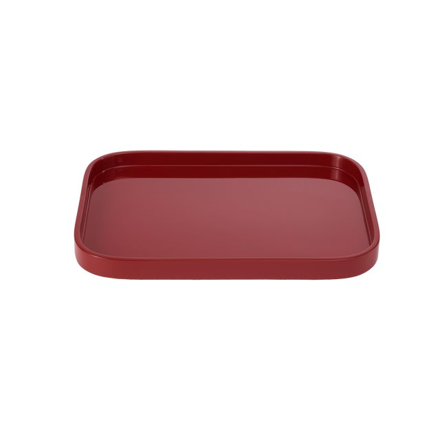 Miles Redd Collection Small Stacking Tray in Garnet Red For Sale