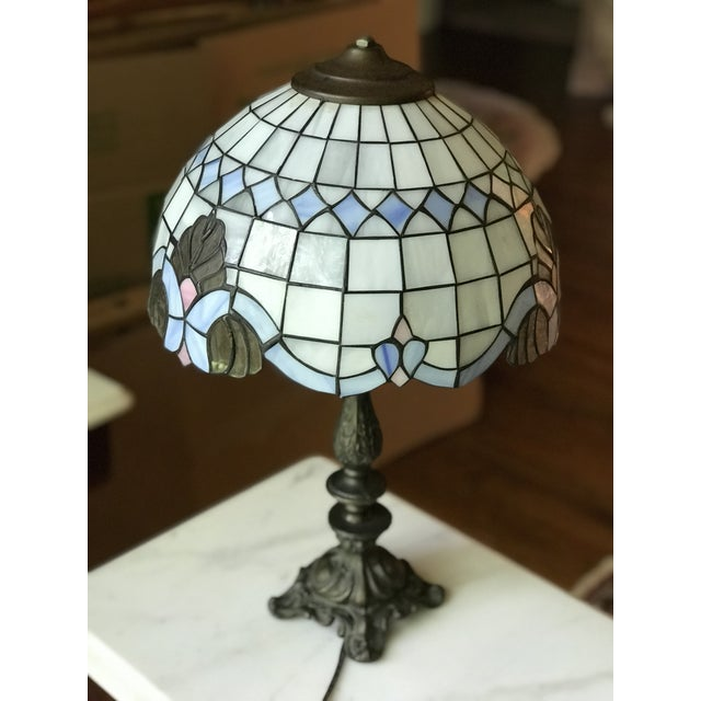 Tiffany Style Vintage Stained Glass Lamp Shade, Brushed Gold Base,Victorian Boudoir, Reduced Final For Sale - Image 10 of 12