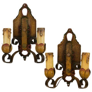 Pair of 1920's Two Arm Spanish Revival Polychrome Sconces For Sale
