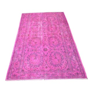 1960s Vintage Turkish Oushak Pink Rug - 3′11″ × 6′11″ For Sale