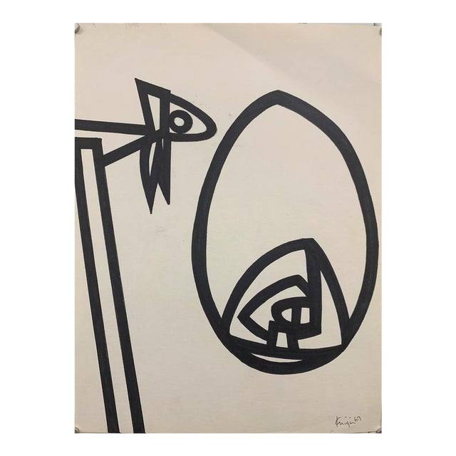 """1967 Ink Brush """"Abstract 1"""" Drawing Whitney Museum Artist Original Art For Sale"""
