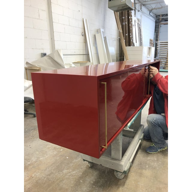 Not Yet Made - Made To Order Re: 379 Credenza With Red Lacquered Case on Satin Brass Frame-Floor Model For Sale - Image 5 of 6