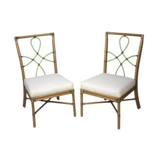 Vintage Mid Century McGuire Style Bamboo Side Chairs- A Pair For Sale
