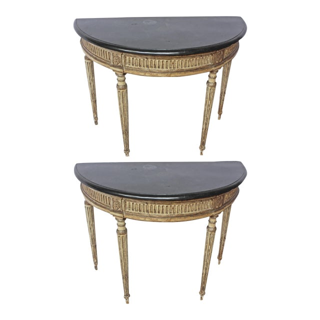 Rare Pair of Italian Neoclassical Console Tables For Sale