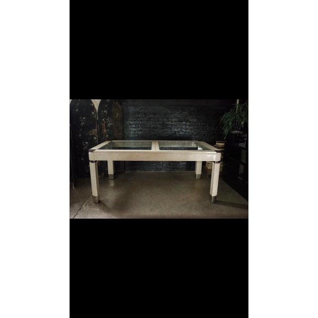 Metal 1980s Modernist Lacquered Ivory Parchment Skin, Chrome & Glass Extendable Dining Table For Sale - Image 7 of 13