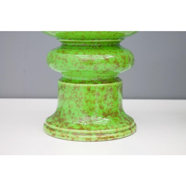 1970s Pair of Green Ceramic Table Lamps, 1970s For Sale - Image 5 of 6