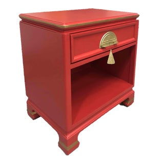 1950s Red Chinoiserie Nightstand For Sale