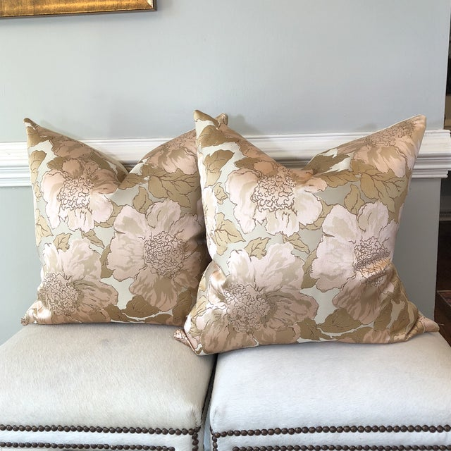 Custom Silk Floral Pillows - A Pair - Image 5 of 5