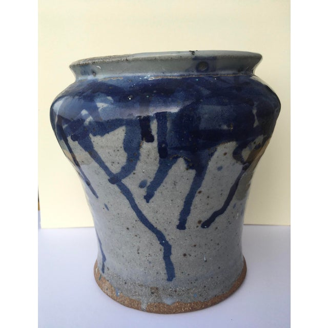 Blue Antique Chinese Pottery Blue Splatter Pattern Glaze Brush Jar For Sale - Image 8 of 10