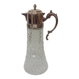 Vintage Italian Glass & Silver Claret Jug For Sale