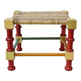Mid-20th Century Multi-Color Folk Art Stool For Sale