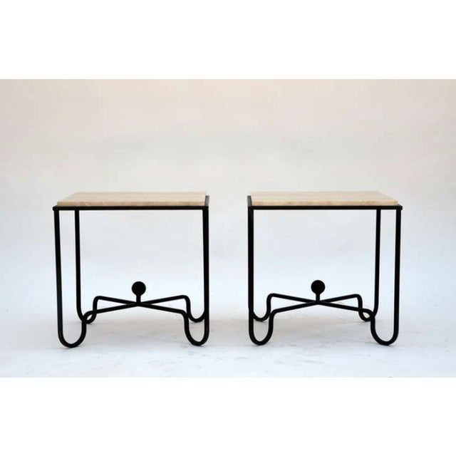 "Contemporary ""Entretoise"" Wrought Iron and Travertine Tables - a Pair For Sale - Image 4 of 8"