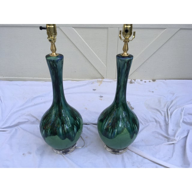 1960s Midcentury Drip Glaze Gourd Lamps, a Pair For Sale - Image 5 of 8