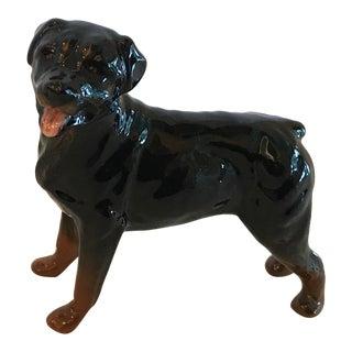 Vintage Black Rottweiler Dog Figurine For Sale