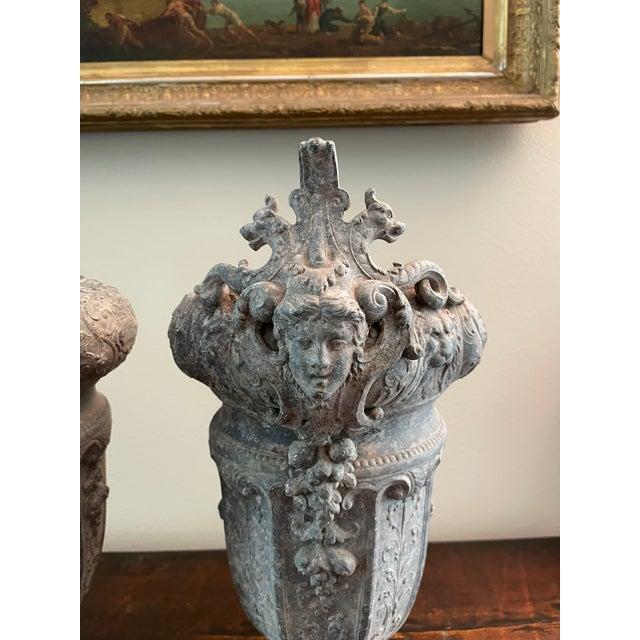 Metal French 19th Century Zinc Renaissance Revival Rococo Garden Vase Planters - A Pair For Sale - Image 7 of 13