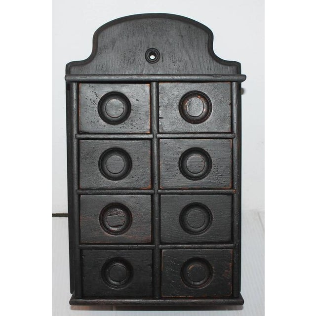 Country 19th Century Black Painted Spice Box For Sale - Image 3 of 6